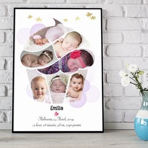 Egyedi fényképes kislány muffin cupcake kollázs emléklap kerettel Babaváró ajándék babastatisztika zsúr babaposzter zsúr, Gyerek & játék, Gyerekszoba, Baba falikép, Dekoráció, Otthon & lakás, Képkeret, Kép, Mindenmás, Cupcake, Muffin formába öntött fényképes print, poszter nemcsak gyerekszobába.\nEz a cupcake, muffin ..., Meska