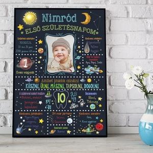 Ürlény, bolygós, ürhajós egyedi fényképes 1 éves szülinapi poszter kerettel, Babalátogató ajándék, emléklap, babanapló, Otthon & lakás, Dekoráció, Lakberendezés, Kép, Gyerek & játék, Gyerekszoba, Képkeret, Mindenmás, Még csak most született és máris a szülinapjára készülsz?\nHipp-Hopp telnek a babaévek?\nÖrökítsd meg ..., Meska