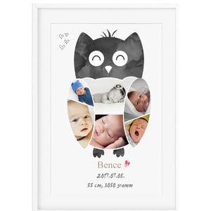 Fényképes baglyos babaposzter kerettel, Baglyos emléklap babastatisztika fotóval, Ajándék zsúrba, Babalátogató unisex (nanetto) - Meska.hu