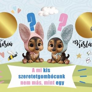 Kisfiú újszülött baba bejelentő kaparós sorsjegy, baba nemét felfedő egyedi vicces ajándék, Nagyi leszel, titkos üzenet - Meska.hu