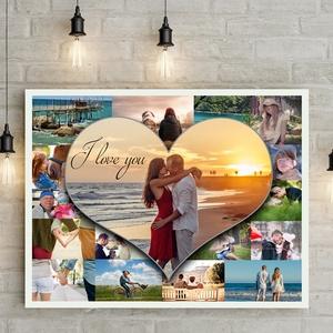 Egyedi szívecskés fényképes szülinapi poszter kerettel, fotókollázs kép montázs, kerekévforduló, nyugdijbamenetel heart, Kollázs, Művészet, Fotó, grafika, rajz, illusztráció, Elmondanád mennyire szereted?\nSok-sok gyönyörű fotó készült az esküvőtökön, külföldi nyaralásotokon,..., Meska