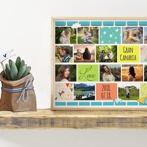 Fényképes fotókollázs születésnapokra, szülinapi poszter emléklap, emlékőrző, fotós ajándék, saját fotóval, Fényképalbum, Otthon & Lakás, Papír írószer, Album & Fotóalbum, Fotó, grafika, rajz, illusztráció, Szereted a vidám színeket? Jól passzolna az ünnepelthez, vagy lakásotok falára ez a különleges színv..., Meska