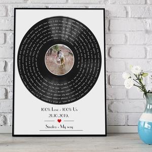 Egyedi fényképes bakelit retro lemez poszter kerettel, Saját dalszöveggel fotóval kerekévforduló, nászajándék barátnő, Nászajándék, Emlék & Ajándék, Esküvő, Fotó, grafika, rajz, illusztráció, Egyedi fényképes bakelit lemez, retro poszter a különleges ajándékok szerelmeseinek!\nSzereted a zené..., Meska
