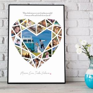 Egyedi szív alakú fényképes szülinapi poszter kerettel, Fotókollázs kép kerekévfordulóra, nászajándékba, szerelmemnek, Kollázs, Művészet, Fotó, grafika, rajz, illusztráció, Elmondanád mennyire szereted? Sok-sok gyönyörű fotó készült az esküvőtökön, a szeretteidről, a nyara..., Meska