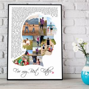 Egyedi fényképes dalszöveg szülinapi poszter kerettel, Fotókollázs kerekévforduló nászajándék apáknak, Fotós ajándék , Kollázs, Művészet, Fotó, grafika, rajz, illusztráció, Sok-sok gyönyörű fotó készült az esküvőtökön, a szeretteidről, a nyaralásotokról vagy a nagy napról?..., Meska