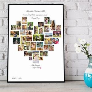 Egyedi szív alakú fényképes szülinapi poszter kerettel, fotókollázs kép montázs, kerekévforduló, nászajándék, apáknak, Szerelmeseknek, Ünnepi dekoráció, Dekoráció, Otthon & lakás, Kép, Férfiaknak, Fotó, grafika, rajz, illusztráció, Elmondanád mennyire szereted? \nSok-sok gyönyörű fotó készült az évek során a gyerekekről?\nBeszéljene..., Meska