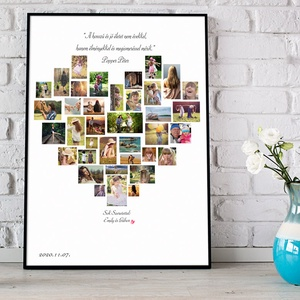 Egyedi szív alakú fényképes szülinapi poszter kerettel, fotókollázs kép montázs, kerekévforduló, nászajándék, apáknak, Kollázs, Művészet, Fotó, grafika, rajz, illusztráció, Elmondanád mennyire szereted? \nSok-sok gyönyörű fotó készült az esküvőtökön?\nBeszéljenek helyetted a..., Meska