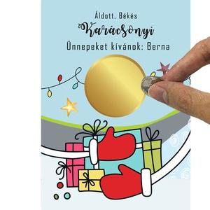 A6 os egyedi kaparós sorsjegy, meglepetés vicces ajándék, karácsonyi ajándékkisérő, képeslap, jókivánság, köszöntő, vers, Otthon & Lakás, Karácsony & Mikulás, Karácsonyi csomagolás, Fotó, grafika, rajz, illusztráció, Kaparós sorsjegy a fantáziádra bízva.\nLepd meg szeretted ezzel a frappáns sorsjeggyel.\nNem kell drág..., Meska
