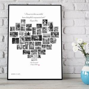 Egyedi fekete fehér szív alakú fényképes szülinapi poszter kerettel, fotókollázs képkerekévforduló, nászajándék, apáknak, Otthon & Lakás, Lakberendezés, Fotó, grafika, rajz, illusztráció, Elmondanád mennyire szereted? \nBeszéljenek helyetted a sok-sok közösen készített fotó?\nAkkor válaszd..., Meska