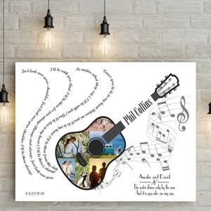 Egyedi gitáros dalszöveg fényképes szülinapi poszter kerettel, fotókollázs kép montázs vicces szülinap legénybúcsú zene, Művészet, Kollázs, Fotó, grafika, rajz, illusztráció, Egyedi fényképes gitáros poszter kollázs saját felirattal, szöveggel a különleges ajándékok szerelme..., Meska
