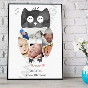 Fényképes baglyos babaposzter emléklap, Bagoly babastatisztika fotóval, Ajándék zsúrba, Babalátogató unisex, Otthon & Lakás, Kép & Falikép, Dekoráció, Mindenmás, Meska