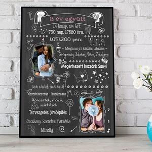 Fényképes szülinapi évfordulós táblamontázs, Emléklap nászajándék kerek évfordulós poszter szerelmespároknak print info - Meska.hu