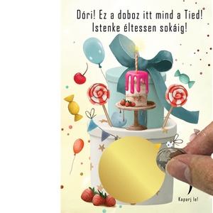 Szülinapi kaparós sorsjegy, Vicces születésnap rejtvény ajándék kisérő kártya, Egyedi kisérőkártya kód nagyinak férjnek , Otthon & Lakás, Papír írószer, Képeslap & Levélpapír, Fotó, grafika, rajz, illusztráció, Meska