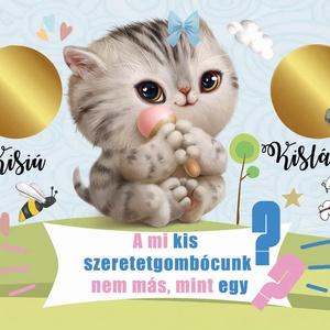 Kislány újszülött baba bejelentő kaparós sorsjegy, baba nemét felfedő egyedi vicces ajándék, Nagyi leszel, titkos üzenet - Meska.hu