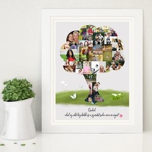 Fényképes családfa szülinapi poszter kerettel, kerekévforduló 40 50 60 éves emléklap, ajándék kollázs montázs - otthon & lakás - dekoráció - falra akasztható dekor - Meska.hu