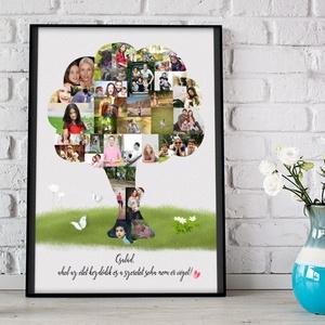 Fényképes családfa szülinapi poszter kerettel, kerekévforduló 40 50 60 éves emléklap, ajándék kollázs montázs - Meska.hu