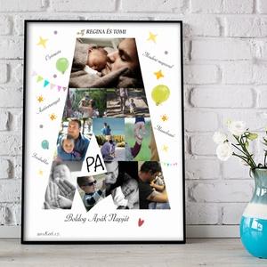 Apák napja legjobb apa falidekor emléklap poszter KERETTEL, Szülinapi családi fényképes falikép, Születésnap szuperhős, Otthon & Lakás, Kép & Falikép, Dekoráció, Fotó, grafika, rajz, illusztráció, Meska