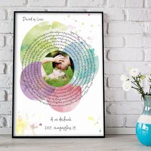 Egyedi fényképes szerelmes dalszöveg poszter nászajándékba, Hanghullám spirál poszter mi dalunk férj feleség szerelmem, Otthon & Lakás, Fotó, grafika, rajz, illusztráció, Meska