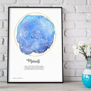 Egyedi csillagtérkép poszter kerettel, Keresztelő születésnapi ajándék zsúr, Csillagkép térkép nászajándékba, zodiákus, Otthon & Lakás, Kép & Falikép, Dekoráció, Fotó, grafika, rajz, illusztráció, Meska