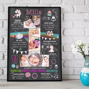 Fényképes kislány 1 éves számos táblaposzter, Szülinapi poszter Babalátogató ajándék emléklap, Babanapló montázs info, Otthon & Lakás, Dekoráció, Kép & Falikép, Mindenmás, Meska