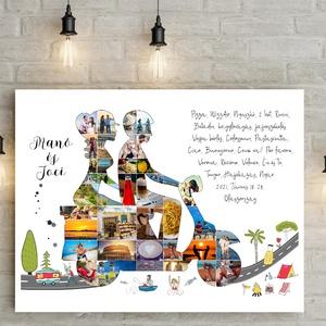 Motoros Vespa, moped fotókollázs, Fényképes emléklap poszter, Útinapló, napló névre szóló szülinapi születésnapi egyedi, Otthon & Lakás, Dekoráció, Falra akasztható dekor, Fotó, grafika, rajz, illusztráció, Meska