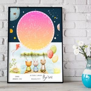 Csillagtérkép kislány kisbaba csillagtérkép, Keresztelő babaváró ajándék, Csillagkép emléklap mérföldkő starmap égbolt - Meska.hu