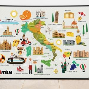Olaszország ITÁLIA szülinapi névnapi mókás ajándékötlet kislány kisfiú poszter világtérkép atlasz tanároknak, falidekor - Meska.hu