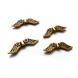 Angyalszárny köztes, ékszerdísz, fityegő, 24x8mm - antik arany, Gyöngy, ékszerkellék, Fém köztesek, Ékszerkészítés, Fém köztesek, Szerelékek, Tibeti stílusú köztes / ékszerdísz / fityegő / charm\n\nSzín: antik arany\nAnyag: fém\nForma: angyalszár..., Meska