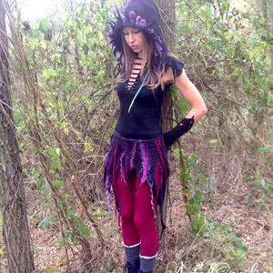 Fekete lila boszorkányszoknya. Selyem nemez manóruha. Fesztivál hippi szoknya. Nyári hippi szoknya., Szoknya, Női ruha, Ruha & Divat, Nemezelés, Ez a gyönyörü tündérszoknya a legpuhább merinoi gyapjubol készült selyem betétekkel \nEgyedi darab, n..., Meska