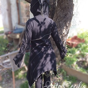 Tavasz tündérkabát. Manóruha. Manópulcsi. Fesztivál ruha. Fekete zöld egyedi manópkabát, Ruha & Divat, Kabát, Női ruha, Varrás, Meska