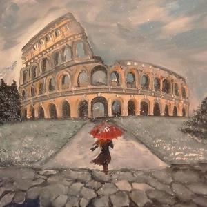 Római hóesés -  festmény, Képzőművészet, Festmény, Festészet, Aki járt már valaha Rómában, sohase felejti el,és  ha ránéz erre a képre újra  felidézheti ezeket a..., Meska