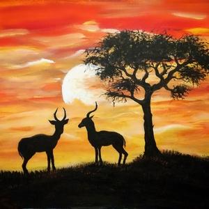 Afrika, Képzőművészet, Festmény, Akril, Festészet, 40X50-es feszített vászonra készült akril festmény. Szikrázó, impulzív színeivel igazán kellemes ha..., Meska