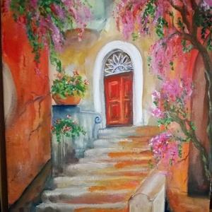 A piros ajtó, Képzőművészet, Festmény, Olajfestmény, Festészet,  Olajfestmény 30*40-es feszített vásznon., Meska