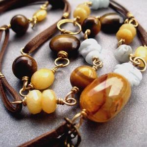 Achát ásvány medál tigrisszem akvamarin mézjáde ásványokkal, bőrrel és rézzel  (narella) - Meska.hu