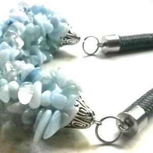 Csodás aquamarin - hegyikristály nyaklánc, Ékszer, Nyaklánc, Ékszerkészítés, Gyöngyfűzés, Kezdeném azzal, hogy élőben még szebb ez a nyakék. Csodása kék árnyalatok csillognak, hegyikristáll..., Meska