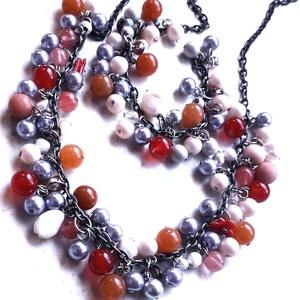 Mineral pearl nyaklánc, Ékszer, Ékszerszett, Ékszerkészítés, Gyöngyfűzés, gyöngyhímzés,  Mineral pearl nyaklánc, piros jáde, barna ásványkő, tenyésztett gyöngy,  púder s szürke üveggyöngy ..., Meska