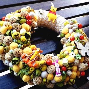 Mici mackó mese kopogtató, Játék & Gyerek, Babalátogató ajándékcsomag, Virágkötés, Kerámia, Zöld, sárga, beige termések, szárazvirágok, fa játékok, színes gyöngyök, mese kerámia díszek, , szín..., Meska