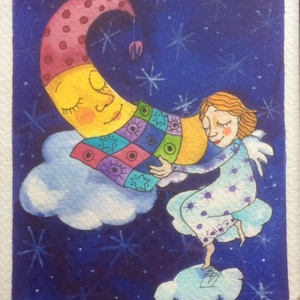 A Hold meséje / Akvarell kép/, Egyéb, Gyerek & játék, Gyerekszoba, Festészet, Fotó, grafika, rajz, illusztráció, A Hold meséje című báb-darab tervének illusztrációja ez az akvarell kép.\nMérete 13x19 cm., Meska