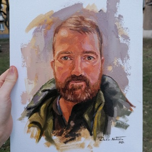 Portréfestés fotó alapján 30x40cm-es méretben, Portré, Portré & Karikatúra, Művészet, Festészet, A festményt kapott fotó alapján készítem el, olajfestékkel, 30x40cm-es feszített vászonra, így igazá..., Meska
