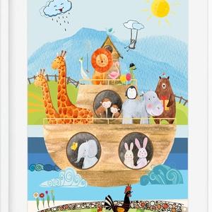 Noé bárkája babaszoba gyerekszoba poszter KERETTEL, Szülinapi keresztelő névadó ajándék print, Ovis zsúr ajándékötlet, Gyerek & játék, Gyerekszoba, Dekoráció, Otthon & lakás, Baba falikép, Fotó, grafika, rajz, illusztráció, Szereted a Noé bárkáját mesélni? \nVagy már sokszor olvastátok és szívesen kiraknátok a szereplőket a..., Meska