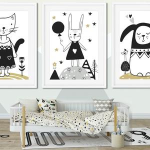 3 db nyuszis, kutyás cicás print skandináv gyerekszoba dekoráció faliposzter babavárás gyermekáldás szülinapi poszter, Dekoráció, Otthon & lakás, Gyerek & játék, Gyerekszoba, Lakberendezés, Fotó, grafika, rajz, illusztráció, Cica, Nyuszi, Kutya nyuszinak beöltözve \nSkandináv minimál stílusú poszter.\n\nKiváló ajándék lehet a ..., Meska