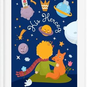 Kis Herceg poszter KERETTEL, Babaszoba dekoráció, Szülinapi ajándékötlet keresztelő ajándék, Róka, Rózsa, Kis Herceg, Gyerek & játék, Gyerekszoba, Dekoráció, Otthon & lakás, Képkeret, Fotó, grafika, rajz, illusztráció, Gyerekkorod meghatározó műve volt Antoine de Saint-Exupéry A kis herceg című könyve?\nVagy már sokszo..., Meska