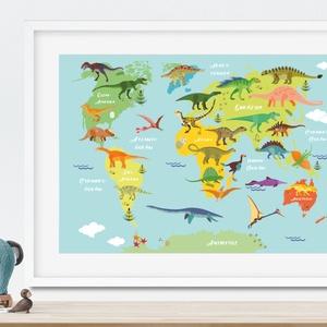 Dinószaurusz világtérkép földgömb kontinens atlasz babaszoba falidekor szülinapi poszter print trex világatlasz dinó, Gyerek & játék, Gyerekszoba, Képkeret, Dekoráció, Otthon & lakás, Fotó, grafika, rajz, illusztráció, Gyermeked kívülről fújja az összes dinó nevét? Visszamentetek az időben és a hüllők nyomait követite..., Meska
