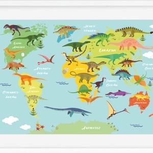 Dinószaurusz világtérkép világatlasz KERETTEL, Trendy dinós babaszoba falidekor, Szülinapi földgömb poszter T-Rex hüllők, Gyerek & játék, Gyerekszoba, Képkeret, Otthon & lakás, Baba falikép, Fotó, grafika, rajz, illusztráció, Gyermeked kívülről fújja az összes dinó nevét? Visszamentetek az időben és a hüllők nyomait követite..., Meska