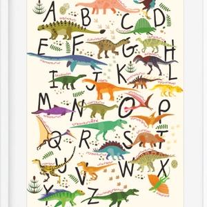 ABC dinós babaszoba poszter KERETTEL, Montessori dinószauruszos abc szülinapi falidekor, Ovis zsúr ajándékötlet, Tanuló, Gyerek & játék, Gyerekszoba, Képkeret, Dekoráció, Otthon & lakás, Baba falikép, Fotó, grafika, rajz, illusztráció, Dinólázban égtek? Akkor ez a dinós abc poszter nem hiányozhat a gyerekszobából. \nNemcsak a dinókat n..., Meska