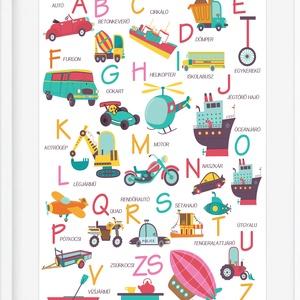 ABC autós jármü babaszoba poszter KERETTEL, Montessori abc szülinapi falidekor, Közlekedés kresztanulás kresztábla print, Táblakép, Dekoráció, Otthon & Lakás, Fotó, grafika, rajz, illusztráció, Kisfiad van? Egész nap figyelitek a járműveket? Akkor ez a poszter kitűnő választás lehet. \nA poszte..., Meska