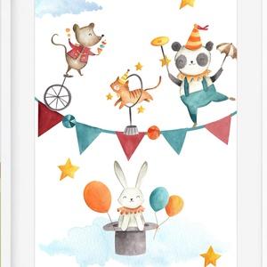 Cirkusz3 babaszoba gyerekszoba falikép KERETTEL, Szülinapi ovis zsúr ajándékötlet, Keresztelő névadó egyedi fókás kép, Kép & Falikép, Dekoráció, Otthon & Lakás, Fotó, grafika, rajz, illusztráció, Cirkuszos kollekció 3 darab\nSzereted a cirkusz különleges világát?\nEzen a bájos poszteren biztosan n..., Meska