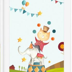 Cirkusz2 babaszoba gyerekszoba falikép KERETTEL, Szülinapi ovis zsúr ajándékötlet, Keresztelő névadó egyedi fókás kép, Kép & Falikép, Dekoráció, Otthon & Lakás, Fotó, grafika, rajz, illusztráció, Cirkuszos kollekció 2. darab\nSzereted a cirkusz különleges világát? \nEzen a bájos poszteren biztosan..., Meska