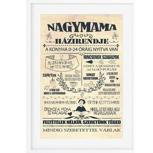 Nagymama házirend poszter KERETTEL, Szülinapi ajándék a Nagyinak, Otthon homedekor névtábla családi szabályok unokáktól, Kép & Falikép, Dekoráció, Otthon & Lakás, Fotó, grafika, rajz, illusztráció, Ez a nagymama házirend egy igazán frappáns ajándék a nagyiknak! A nagyik különleges teremtmények, kü..., Meska