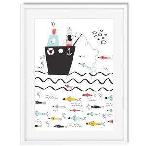 Tengeri utazás3 gyerekszoba dekoráció KERETTEL, Skandináv minimál stilusú falikép, Keresztelő szülinapi babaváró ajándék, Kép & Falikép, Dekoráció, Otthon & Lakás, Fotó, grafika, rajz, illusztráció, Halászhajó ring a tenger közepén. \nVárja a nagyszerű fogást, hiszen annyi hal igyekszik leszedni a c..., Meska